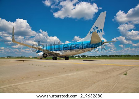 Boryspil (UKBB/KBP) Airport, Ukraine - July 5, 2014. KLM - Royal Dutch Airlines Boeing 737 taxiing to the gate after landing - stock photo