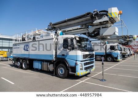 BORYSPIL, UKRAINE - JULY 05, 2014: Airport de-icing vehicles. Elephant de-icing vehicle.