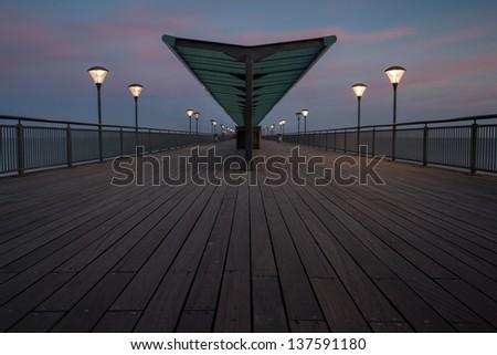 Boscombe Pier at dusk, Bournemouth - stock photo