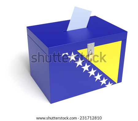 Bosnia and Herzegovina ballot box with Bosnia and Herzegovina Flag. Isolated on white background. - stock photo