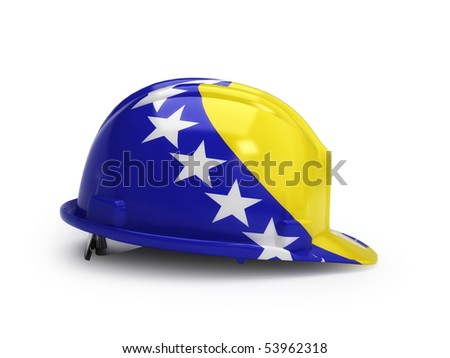 Bosnia and Herzegovina flag on construction helmet