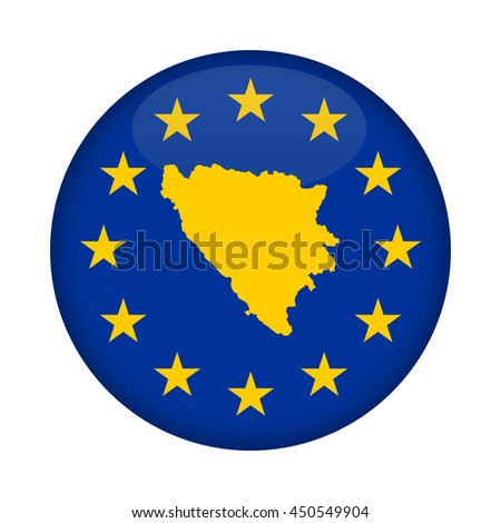 Bosnia and Herzegovina map on a European Union flag button isolated on a white background. - stock photo