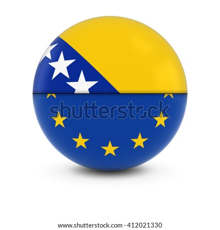Bosnian Herzegovinian and European Flag Ball - Split Flags of Bosnia Herzegovinia and the EU - stock photo
