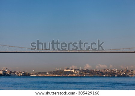 Bosphorus Bridge and old peninsula - stock photo