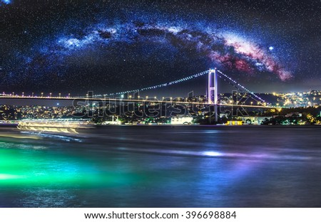 Bosphorus Bridge at night, Istanbul, Turkey - stock photo