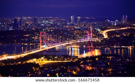 bosphorus bridge istanbul Turkey - stock photo