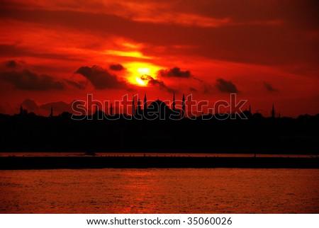 bosporus sunset - stock photo