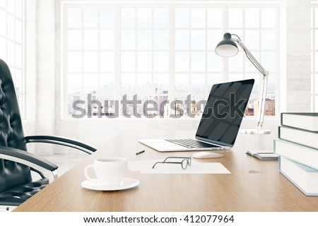 Boss desktop with laptop and cup of coffee, 3D Rendering - stock photo