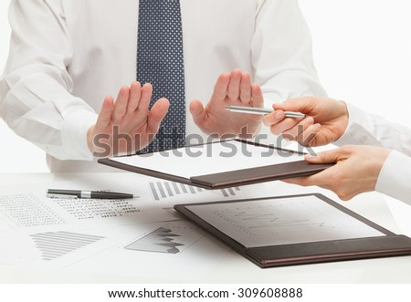 Boss rejecting to sign a document, white background