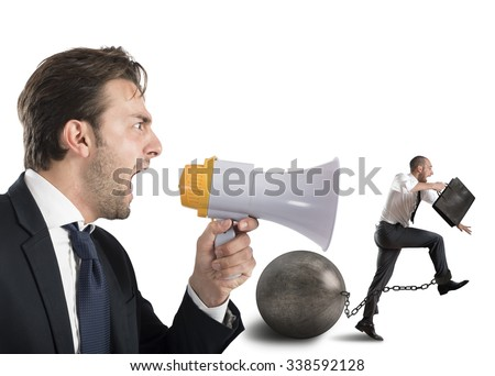 Boss reproach employee who runs with impediment - stock photo