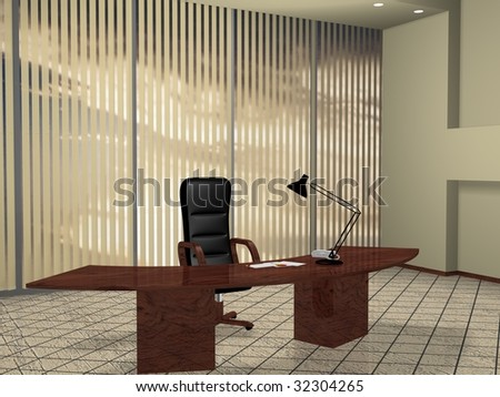 Boss room interior, created with 3d studio max & rendered - stock photo