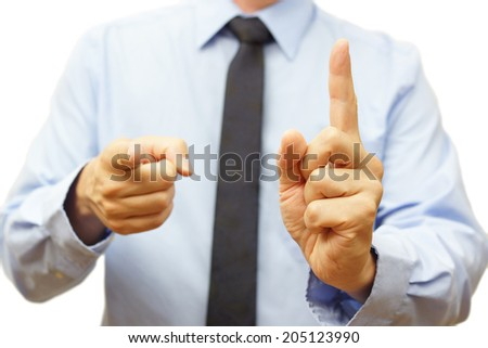Boss shows  warning sign and pointing to you - stock photo