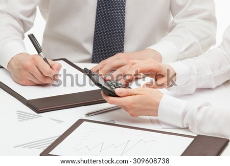 Boss signing a document, white background - stock photo