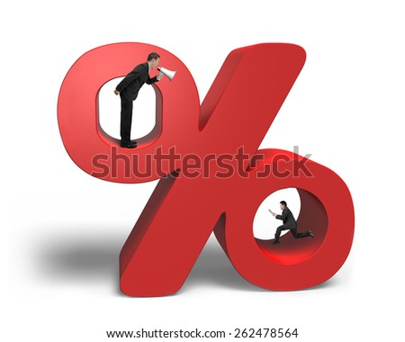 Boss using megaphone yelling at running employee holding tablet with red percentage sign isolated on white background - stock photo