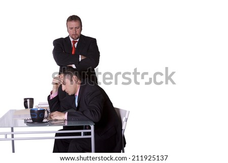Boss Watching Over his Employee's Shoulder - with Copy Space