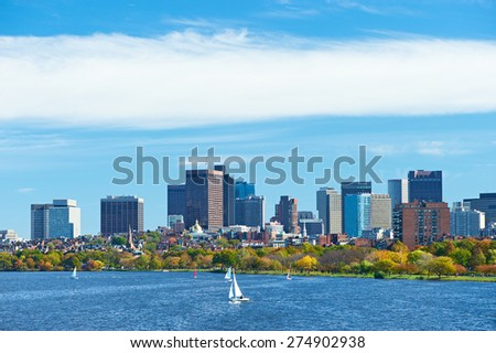 Boston and Charles river view from Harvard Bridge at Massachusetts, USA - stock photo