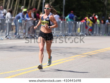 BOSTON - APRIL 18: Bean Wrenn of Boulder Colorado  races with the elite women  up Heartbreak Hill during the Boston Marathon April 18, 2016 in Boston. [public race]
