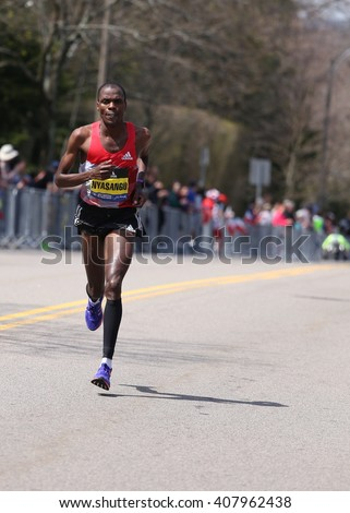 BOSTON - APRIL 18: Elite men race up the Heartbreak Hill during the Boston Marathon April 18, 2016 in Boston.