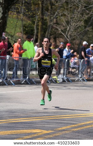 BOSTON - APRIL 18: Ian Burrell  with other elite men race up the Heartbreak Hill during the Boston Marathon April 18, 2016 in Boston. [public race]