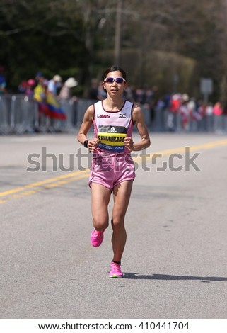 BOSTON - APRIL 18: Miharu Shimokado of Tokyo Japan races with the elite women  up Heartbreak Hill during the Boston Marathon April 18, 2016 in Boston.