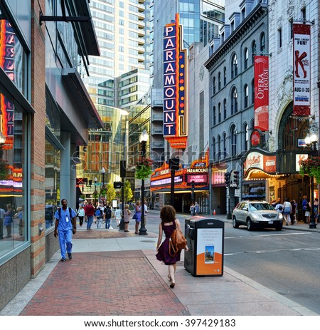 BOSTON - August 19: Washington Street Theater District in Boston on August 19, 2015. The district has several venues for the performing arts like Emerson's Paramount Center and the Boston Opera House.