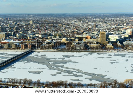 Boston Back Bay, Charles River and apartment aerial view in winter, Boston, Massachusetts, USA - stock photo