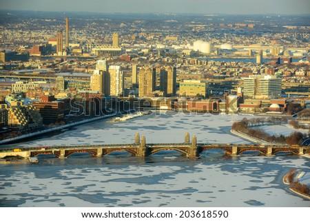 Boston Back Bay, Charles River and Longfellow Bridge Aerial view in winter, Boston, Massachusetts, USA - stock photo