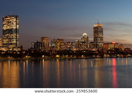 Boston Back Bay skyline and Charles river - stock photo