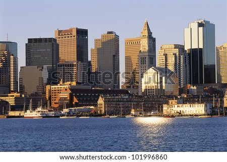 Boston buildings in early morning sunlight - stock photo