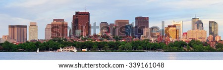 Boston Charles River sunset panorama with urban skyline and skyscrapers  - stock photo
