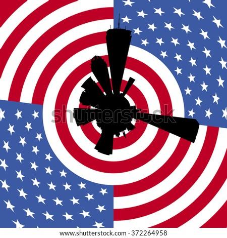 Boston circular skyline with American flag illustration - stock photo