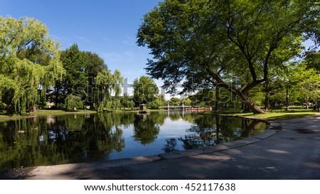 Boston city public garden  - stock photo
