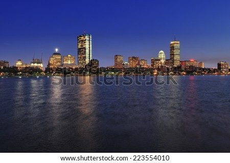 Boston city skyline at dusk with reflection of the skyscrapers over Charles River - stock photo