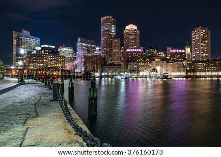 Boston City Skyline at Night from Fan Pier Park