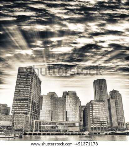 Boston city skyline on a beautiful evening.