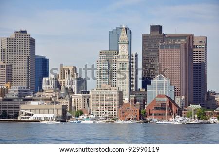 Boston City Skyscrapers, Custom House and Boston Waterfront from East Boston, Boston, Massachusetts, USA - stock photo
