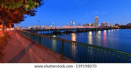 Boston Cityscape and Harvard Bridge at Night - stock photo