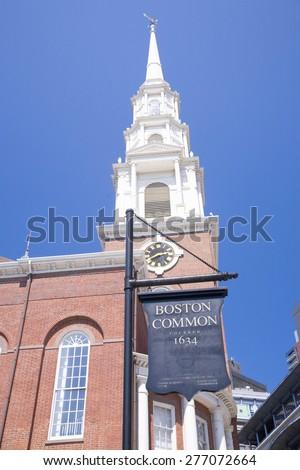 Boston Common Sign below Park Street Steeple and Church, Boston, Ma., New England, USA - stock photo