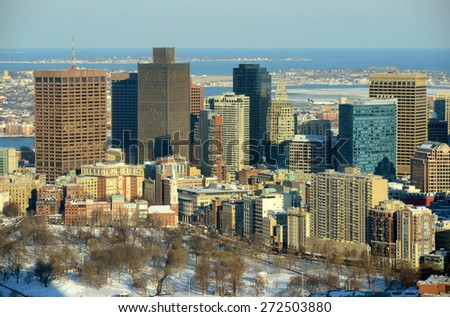 Boston Custom House and Financial district in winter, from top of Prudential Center, Boston, Massachusetts, USA - stock photo