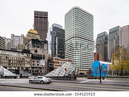 BOSTON - DECEMBER 13: Portrait of Downtown financial district  on December 13, 2015 in Boston, MA USA