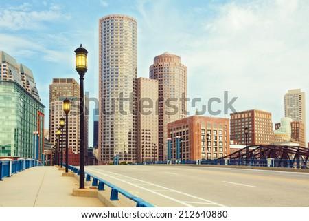 Boston Financial District.  Boston- Massachusetts, USA - stock photo
