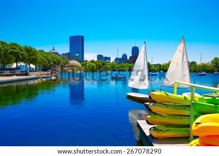 Boston from Charles River in Massachusetts USA - stock photo