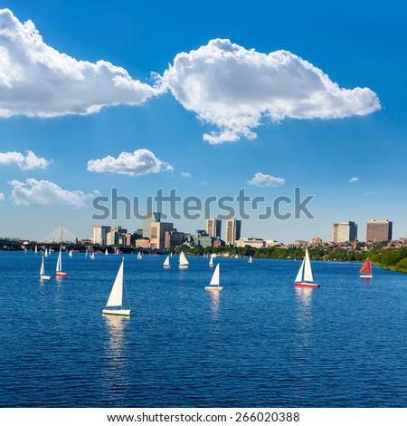 Boston from Harvard Bridge in Charles river at Massachusetts USA - stock photo