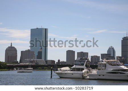 Boston from the Charles River - stock photo
