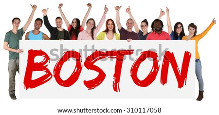 Boston group of young multi ethnic people holding banner isolated - stock photo