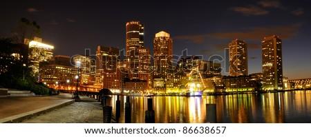 Boston Harbor and Cityscape - stock photo
