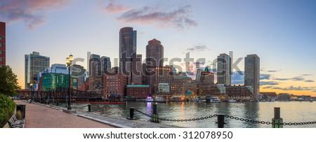 Boston Harbor and Financial District at twilight, Massachusetts. - stock photo