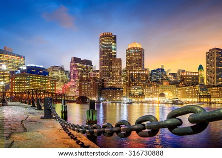 Boston Harbor and Financial District at twilight, Massachusetts in USA.  - stock photo