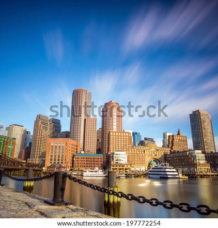 Boston Harbor and Financial District in Boston, Massachusetts. - stock photo