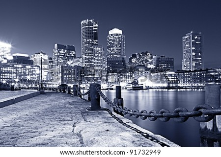 Boston Harbor and Financial district in Boston, Massachusetts.